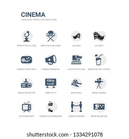 simple set of icons such as movie billboard, cinema borders, cinema clapperboard, television with antenna, movie camera, movie roll, 1080p hd tv, image projector, smoothie with straw, laptop with