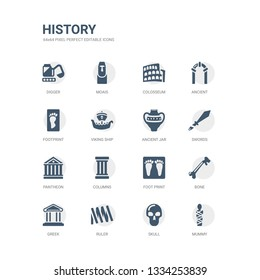 simple set of icons such as mummy, skull, ruler, greek, bone, foot print, columns, pantheon, swords, ancient jar. related history icons collection. editable 64x64 pixel perfect.