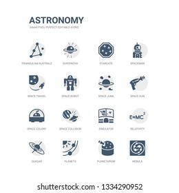 simple set of icons such as nebula, planetarium, planets, quasar, relativity, simulator, space collision, space colony, space gun, junk. related astronomy icons collection. editable 64x64 pixel
