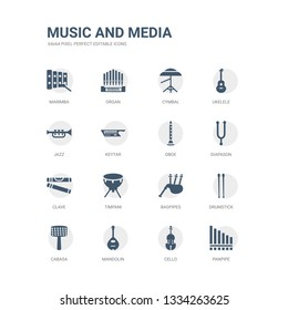 simple set of icons such as panpipe, cello, mandolin, cabasa, drumstick, bagpipes, timpani, clave, diapason, oboe. related music and media icons collection. editable 64x64 pixel perfect.
