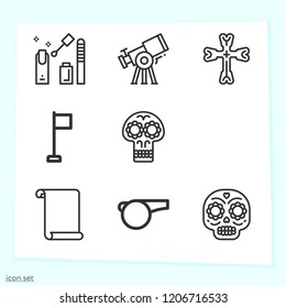 Simple set of  icons   such as parchment, skull, corner, whistle, cross, scarf, nail polish symbols