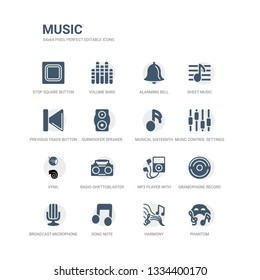 simple set of icons such as phantom, harmony, song note, broadcast microphone, gramophone record, mp3 player with headphones, radio ghettoblaster, vynil, music control settings button, musical