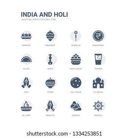 simple set of icons such as rangoli, samosa, namaste, oil lamp, taj mahal, full moon, phirni, pray, thandai, kanji vadas. related india and holi icons collection. editable 64x64 pixel perfect.