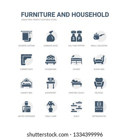 simple set of icons such as refrigerator, shelf, table lamp, water dispenser, fauteuil, fainting couch, davenport, canopy bed, sleigh bed, daybed. related furniture and household icons collection.