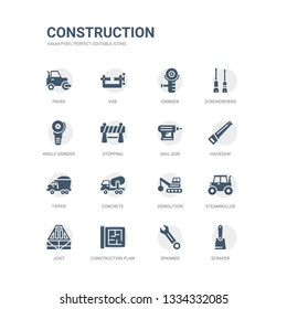 simple set of icons such as scraper, spanner, construction plan, joist, steamroller, demolition, concrete, tipper, hacksaw, nail gun. related construction icons collection. editable 64x64 pixel