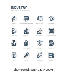 simple set of icons such as sewage, timing belt, piston, lift, oil tank, uncoiler, electrolysis, crusher, electronic print machine, eco windmill. related industry icons collection. editable 64x64