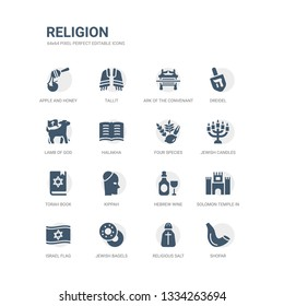 simple set of icons such as shofar, religious salt, jewish bagels, israel flag, solomon temple in jerusalem, hebrew wine, kippah, torah book, jewish candles, four species. related religion icons