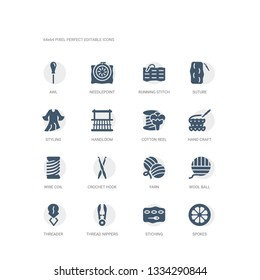 simple set of icons such as spokes, stiching, thread nippers, threader, wool ball, yarn, crochet hook, wire coil, hand craft, cotton reel. related sew icons collection. editable 64x64 pixel perfect.