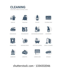 simple set of icons such as sponges, garden hose, serviette, dumpster, carpet cleaning, bathtub cleaning, washing dishes, baking soda, deodorizer, dishwashing detergent. related cleaning icons