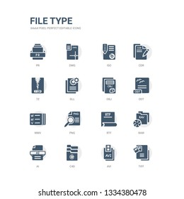 simple set of icons such as tiff, avi, c4d, ai, raw, rtf, png, wmv, odt, obj. related file type icons collection. editable 64x64 pixel perfect.