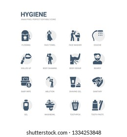 simple set of icons such as tooth paste, toothpick, washbowl, gel, sanitary, shaving gel, ablution, baby wipe, beardy, body odour. related hygiene icons collection. editable 64x64 pixel perfect.