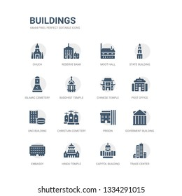 simple set of icons such as trade center, capitol building, hindu temple, embassy, goverment building, prison, christian cemetery, uno building, post office, chinese temple. related buildings icons
