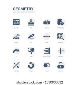 simple set of icons such as unlock, front, undo, stretch, extend, right align, join, o, ungroup, line. related geometry icons collection. editable 64x64 pixel perfect.