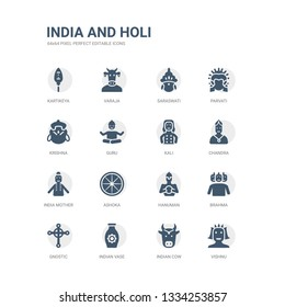 simple set of icons such as vishnu, indian cow, indian vase, gnostic, brahma, hanuman, ashoka, india mother, chandra, kali. related india and holi icons collection. editable 64x64 pixel perfect.