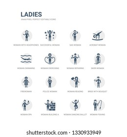 simple set of icons such as woman fishing, woman dancing ballet, woman building a wall, spa, bride with bouquet, reading, police firewoman, skier repairing. related ladies icons collection. editable