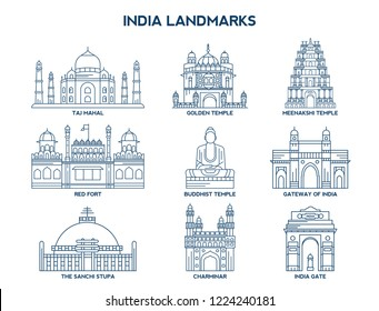 Simple Set of India Landmarks Related Vector Line Icons. Contains such Icons as Taj Mahal, Golden Temple, Meenakshi Temple, Red Fort and more