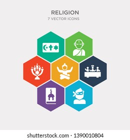 simple set of indulgence, jihad, koran, last supper icons, contains such as icons lotus position, menorah, monk and more. 64x64 pixel perfect. infographics vector