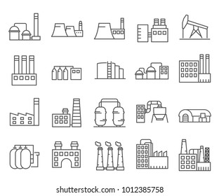 Simple Set of industrial building Related Vector Line Icons. Contains such Icons as warehouse, factory, oil plant, production workshop, manufacture and more.