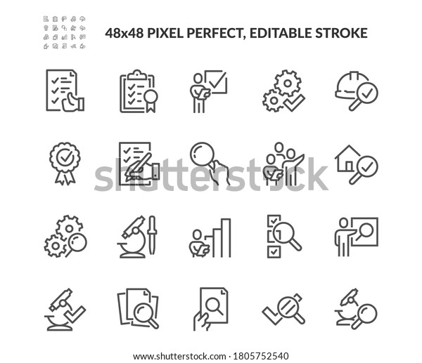 Simple Set of Inspection Related Vector Line Icons. Contains such Icons as Check, Testing, Examination and more. Editable Stroke. 48x48 Pixel Perfect.