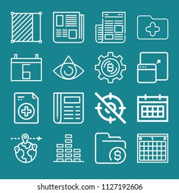 Simple set of interface vector outline icons. contains such icons as interface 16. editable stroke. such as eye, bitcoin, folder, maximize, frame, volume, calendar, newspaper