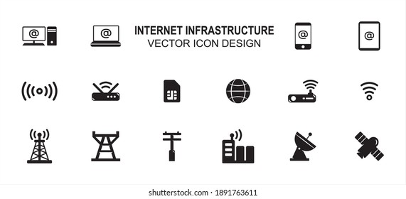 Simple Set of internet infrastructure Related style Vector icon user interface graphic design. Contains such Icons as computer desktop, laptop, mobile phone, router, modem, transmitter tower