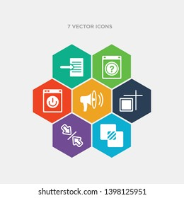 simple set of intersect, vertical align, artboard, sound on icons, contains such as icons on off power button, question button, export archive and more. 64x64 pixel perfect. infographics vector