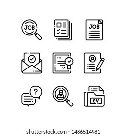 Simple Set of interview Related Vector Line Icons. Contains such Icons as job, profiles, contract and more.