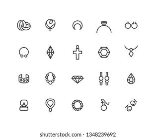 Simple Set of Jewelry Related Vector Line Icons. Contains such Icons as necklace, crystal, bracelet, brilliant and more. Editable Stroke. 48x48 Pixel Perfect.