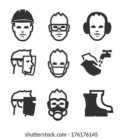 personal protective equipment images stock photos vectors Damaged PPE simple set of job safety related vector icons for your design