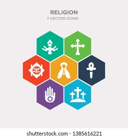 simple set of judaism, calvary, jainism, paganism icons, contains such as icons mantle, bahai, catholicism and more. 64x64 pixel perfect. infographics vector