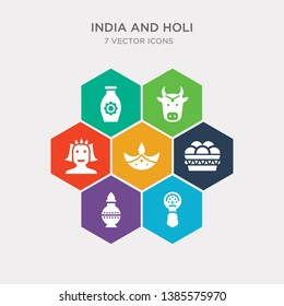 simple set of kathakali, kumbh kalash, indian sweets, diwali lamp icons, contains such as icons vishnu, indian cow, indian vase and more. 64x64 pixel perfect. infographics vector