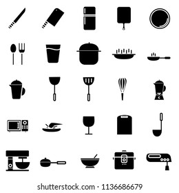 simple set of kitchen related vector black icons