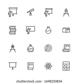 Simple set of knowledge modern thin line icons. Trendy design. Pack of stroke icons. Vector illustration isolated on a white background. Premium quality symbols.