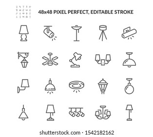 Simple Set of Lamps Related Vector Line Icons. Contains such Icons as Table Lamp, Floor Light, Spotlight and more. Editable Stroke. 48x48 Pixel Perfect.