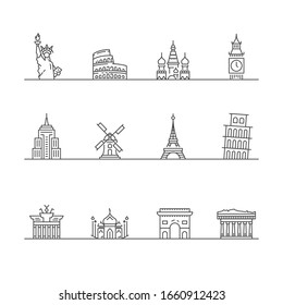 Simple Set of Landmarks Related Vector Line Icons