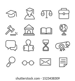 Simple set of law and justice minimal icon isolated modern outline on white background