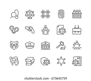 Simple Set of Law and Justice Related Vector Line Icons.  Contains such Icons as Themis, Court, Police and more. Editable Stroke. 48x48 Pixel Perfect.