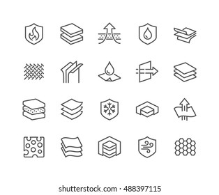 Simple Set of Layered Material Related Vector Line Icons.  Contains such Icons as Waterproof, Wind Protection, Fabric Layers and more. Editable Stroke. 48x48 Pixel Perfect.