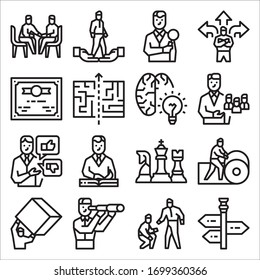 Simple Set of Leadership Related Vector Line Icons