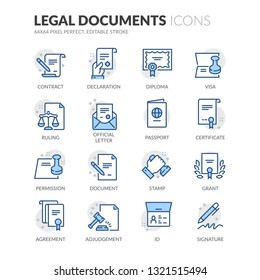 Simple Set of Legal Documents Related Vector Line Icons. Contains such Icons as Declaration, Permission, Grant and more. Editable Stroke. 64x64 Pixel Perfect.