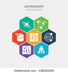 simple set of liftoff, meteor shower, milky way, nebula icons, contains such as icons planetarium, planets, quasar and more. 64x64 pixel perfect. infographics vector