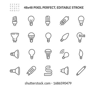 Simple Set of Light Bulb Related Vector Line Icons. Contains such Icons as RBG stripe, Classic Lamp, Halogen Tube and more. Editable Stroke. 48x48 Pixel Perfect.