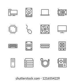 Simple set of line computer hardware icons: system unit, Laptop, monitor, Keyboard, mouse, SSD , Hdd, Motherboard, RAM, CPU, Server, cable, fan. Editable Stroke. 48x48 Pixel Perfect.