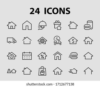 Simple set of line vector home icons. Contains house symbols at interest, infuse house and more. Editable stroke. 480x480 pixels perfect.