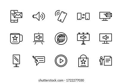 A simple set of linear vector icons associated with ads. Contains icons such as: Billboard, flyer, online newsletter, and more. Editable Stroke. 48x48 pixels is perfect.