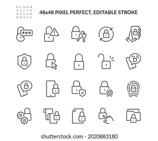 Simple Set of Locks Related Vector Line Icons. Contains such Icons as Locked Document, Fingerprint, Padlock and more. Editable Stroke. 48x48 Pixel Perfect.