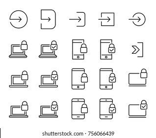 Simple set of login related outline icons. Elements for mobile concept and web apps. Thin line vector icons for website design and development, app development. Premium pack.
