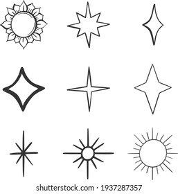 Simple set of magic and alchemy icons in trendy line art style. Modern vector symbols, isolated on a white background. Linear pictogram pack. Icons collection for web apps and mobile concept.