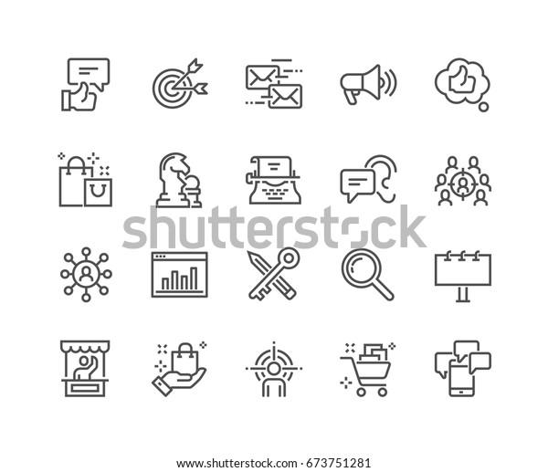 Einfache Set von marketingbezogenen Vektorgrafik-Symbolen.  Enthält Symbole wie Mail Marketing, Zielpublikum, Keywords, Produktpräsentation und mehr.  Bearbeitbarer Stroke. 48x48 Pixel perfekt.