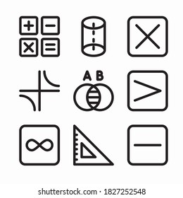 Simple Set Maths Vector line Icons. Line with Editable stroke